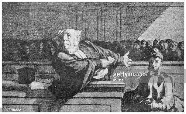 antique illustration: lawyer in trial - history stock illustrations