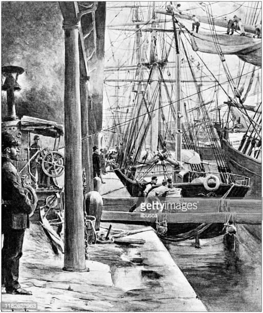 antike illustration: liverpool docks - beladen stock-grafiken, -clipart, -cartoons und -symbole