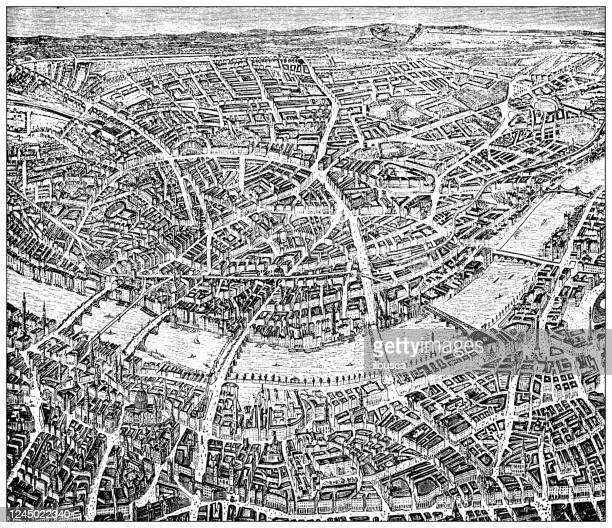 アンティークイラスト:ロンドンの地図 - テムズ川点のイラスト素材/クリップアート素材/マンガ素材/アイコン素材