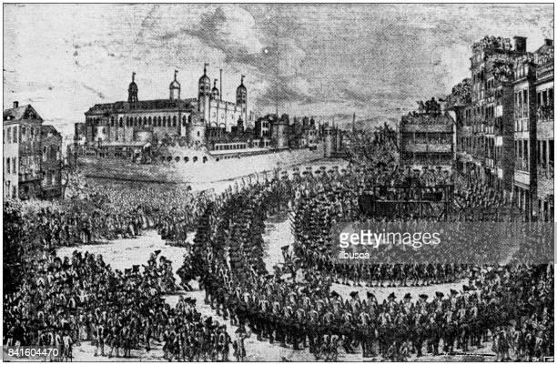 Antique illustration: Lord Lovat Beheading