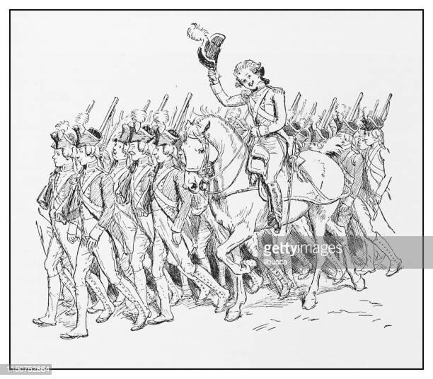 antique illustration: military parade - parade stock illustrations, clip art, cartoons, & icons