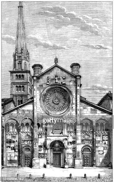 antique illustration: modena cathedral - modena stock illustrations