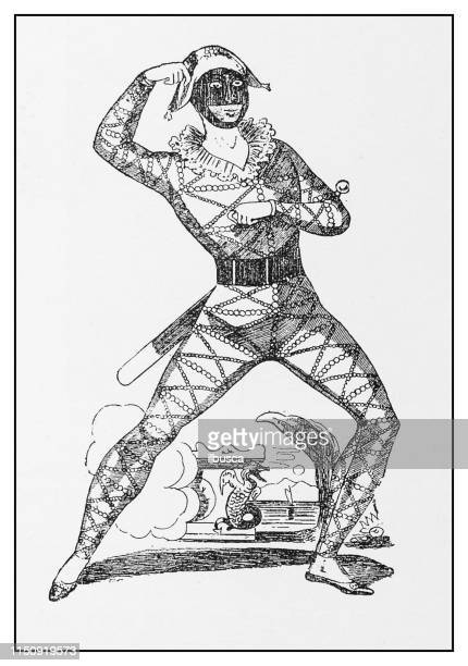 antique illustration: mr h lewis as harlequin - stage costume stock illustrations