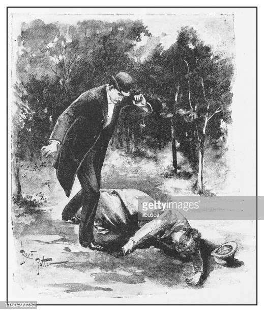 antique illustration: murder discovery - dead body stock illustrations