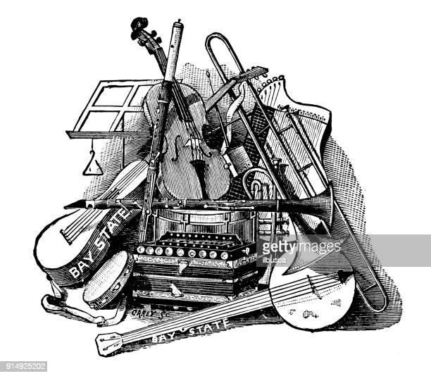 Antique illustration: Musical instruments