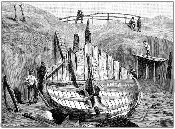 antique illustration: norway ship shipwreck - archaeology stock illustrations