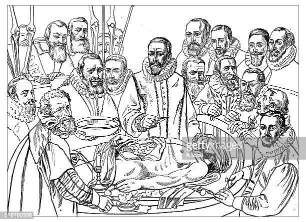 stockillustraties, clipart, cartoons en iconen met antique illustration of 17th century anatomy lesson - autopsy
