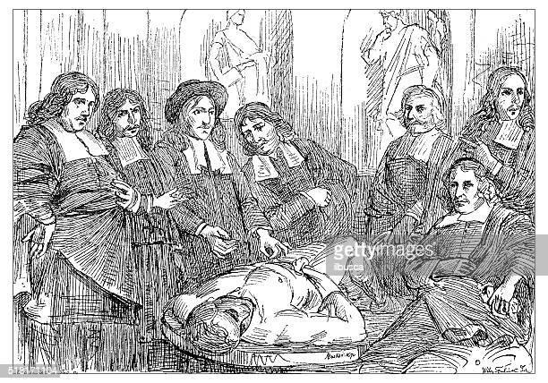 antique illustration of 17th century anatomy lesson - autopsy stock illustrations