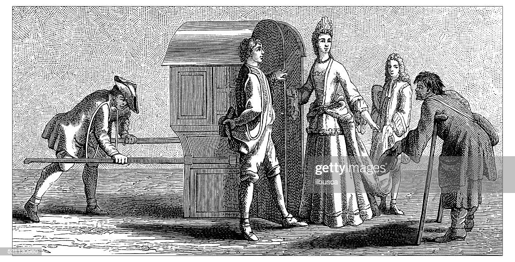 Antique illustration of 17th-18th century lady with litter : Stock Illustration