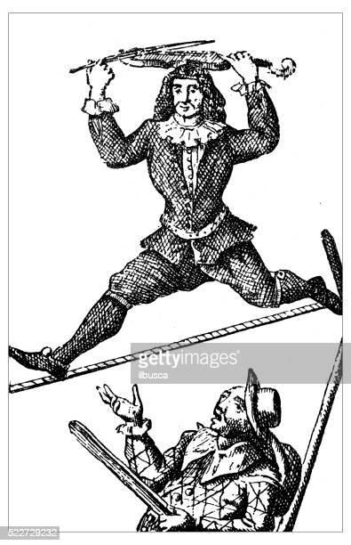 Ilustración de antiguas del siglo XVIII acróbata sobre la tightope (slackline
