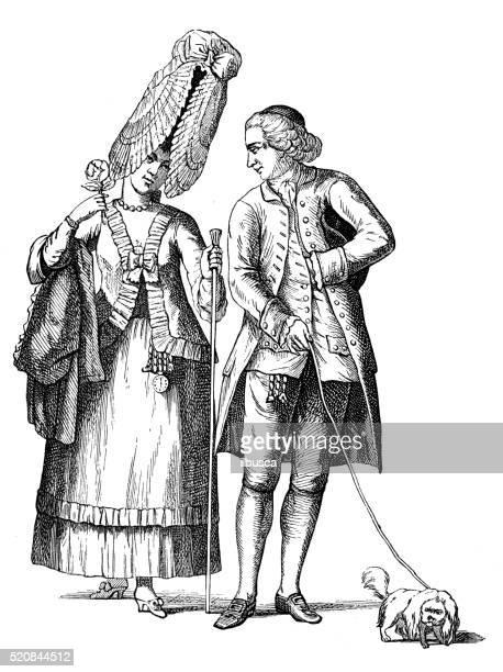 stockillustraties, clipart, cartoons en iconen met antique illustration of 18th century caricature of baroness of bel-air - gravure gefabriceerd object