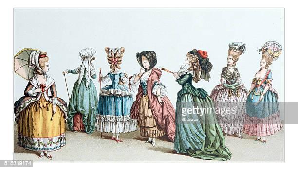 ilustraciones, imágenes clip art, dibujos animados e iconos de stock de antiguas del siglo xviii ilustración de ropa - estilo siglo xix