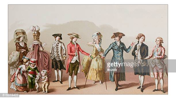 antique illustration of 18th century clothes - period costume stock illustrations