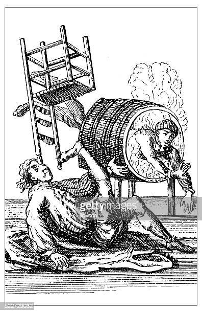 antique illustration of 18th century equilibrist/contortionist circus artists - contortionist stock illustrations
