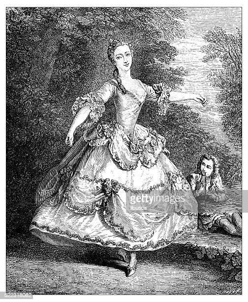 Ilustração de antigo dia 18 século famoso bailarina francesa Mademoiselle Salle