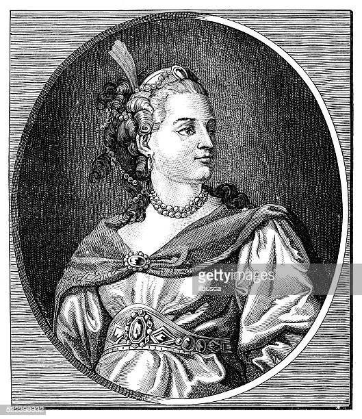 antique illustration of 18th century french actress and tragedian clairon - 18th century stock illustrations