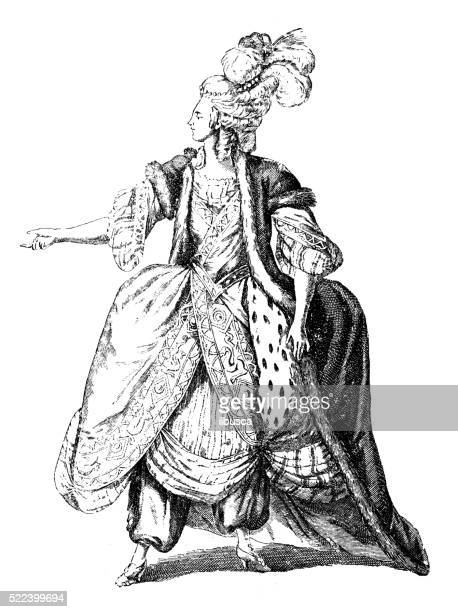 antique illustration of 18th century french actress in stage costume - nice france stock illustrations, clip art, cartoons, & icons