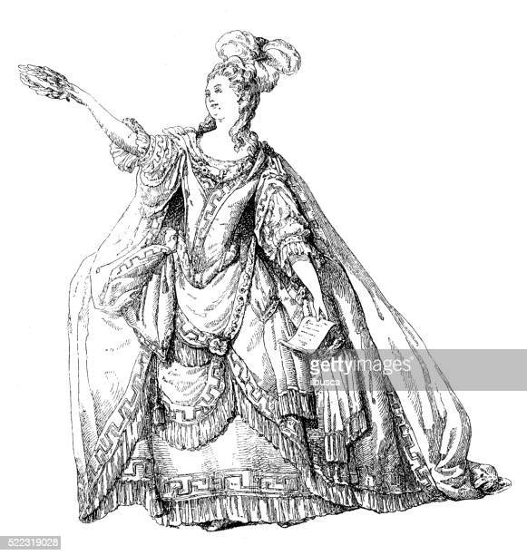 antique illustration of 18th century french actress performing - actress stock illustrations