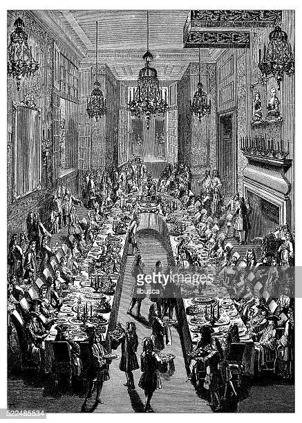 antique illustration of 18th century french dinner at spanish embassy - nice france stock illustrations, clip art, cartoons, & icons