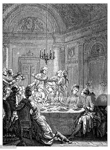 アンティークのイラストレーション 18 世紀のフランス製の優雅なディナー - 上流社会点のイラスト素材/クリップアート素材/マンガ素材/アイコン素材
