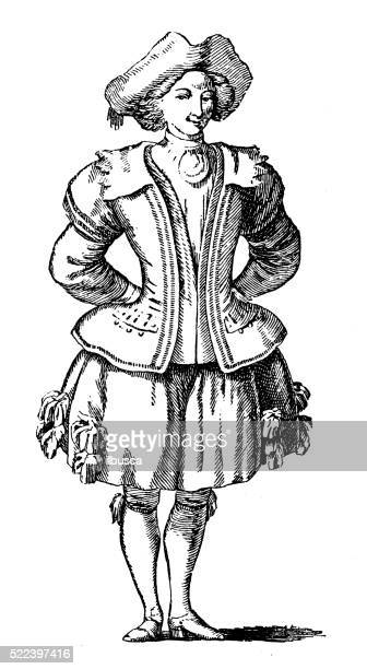 Antique illustration of 18th century French gardener stage costume