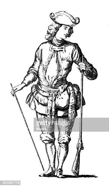 ilustraciones, imágenes clip art, dibujos animados e iconos de stock de ilustración de antiguas del siglo xviii de francia cazador de vestuario teatral - actor