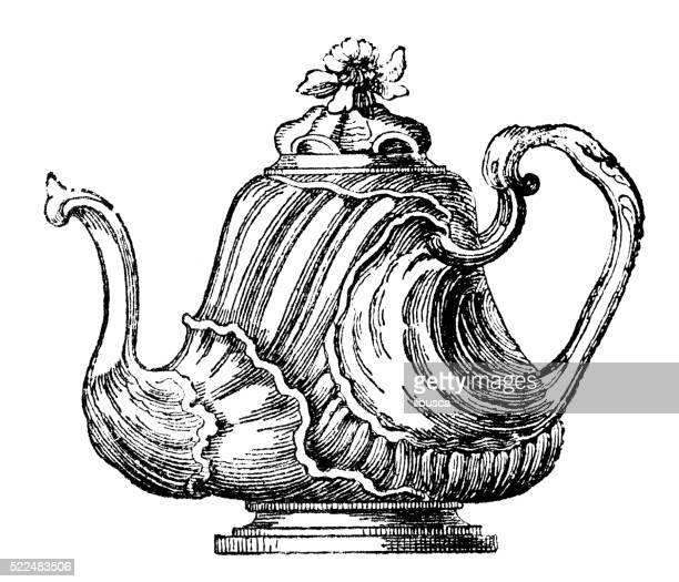 Antique illustration of 18th century French precious teapot