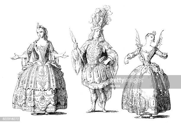 antique illustration of 18th century french stage costume - stage costume stock illustrations