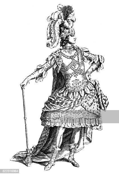 antique illustration of 18th century french theatre costume (ancient roman) - ancient stock illustrations, clip art, cartoons, & icons