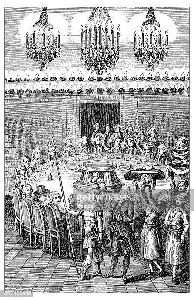 Antique illustration of 18th century French upper class sumptuous banquet