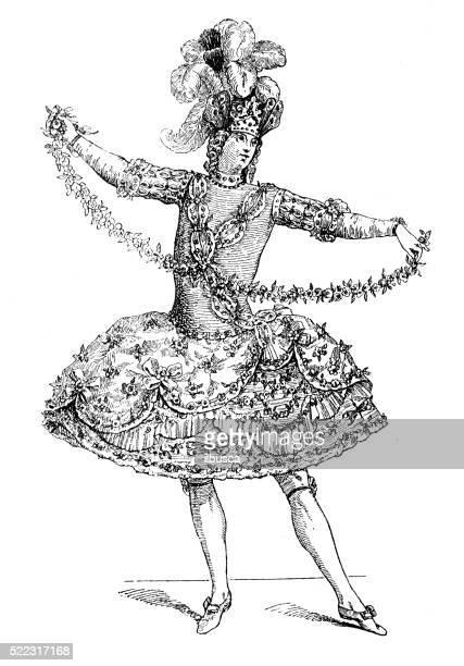 Ilustração de antigo dia 18 XX Fr Zéfiro fantasia de balé