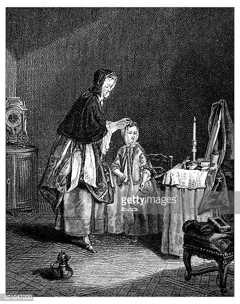 Antique illustration of 18th century Frenchchild getting dressed and combed