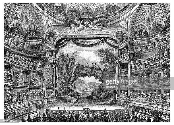 antique illustration of 18th century interior of paris theatre - nice france stock illustrations, clip art, cartoons, & icons