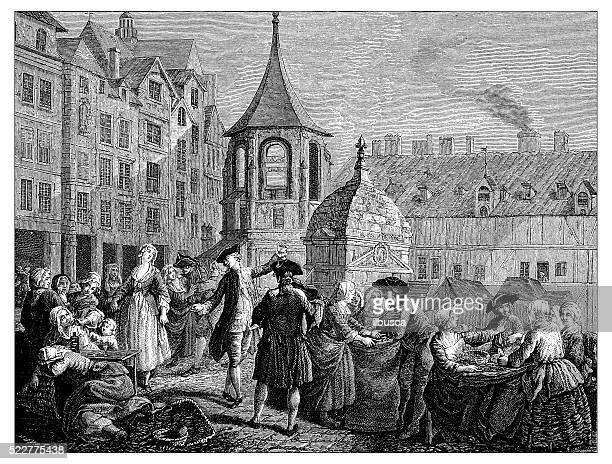 Antique illustration of 18th century market of the Innocents (Paris)