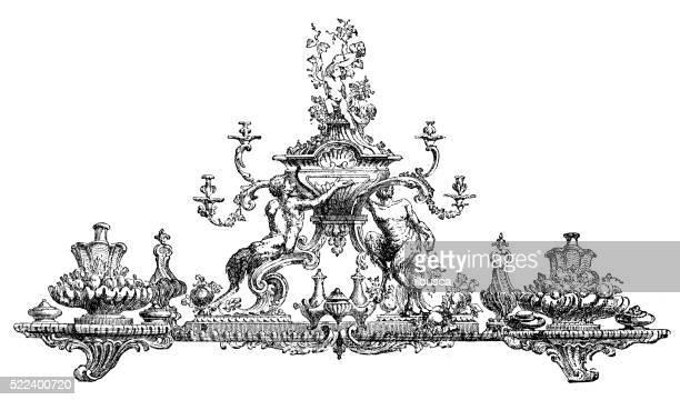 Antique illustration of 18th century ornamental centrepiece (surtout de table)