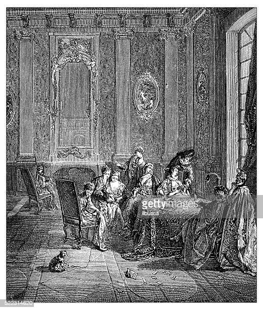 Antique illustration of 18th century palace room with family relaxing