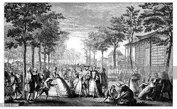 Antique illustration of 18th century promenade (Parisian boulevard)