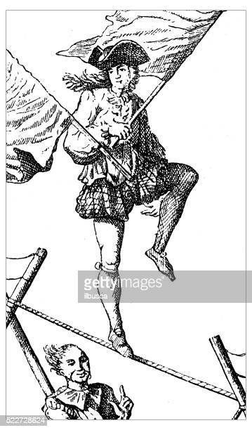 Antigo ilustração de dia 18 século Twirler/acrobat na Corda Bamba