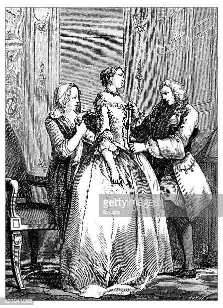 antique illustration of 18th century women's tailor at worl - nice france stock illustrations, clip art, cartoons, & icons