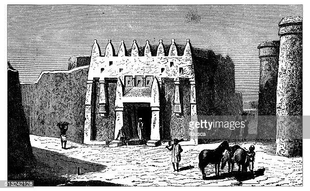 antique illustration of 19th century building in ségou (mali) - west africa stock illustrations, clip art, cartoons, & icons