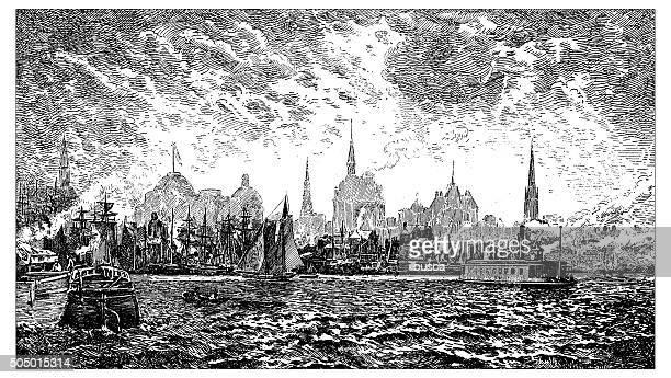 antique illustration of 19th century new york harbor - us marine corps stock illustrations, clip art, cartoons, & icons