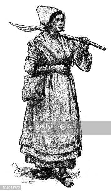 Antique illustration of 19th century young farmer