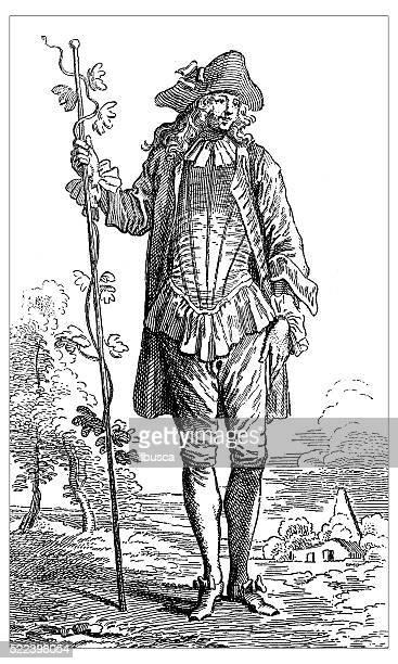 antique illustration of 8th century actor dumirail in farmer costume - actor stock illustrations, clip art, cartoons, & icons