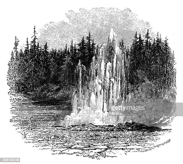 antique illustration of 'a minute man' geyser - boston common stock illustrations
