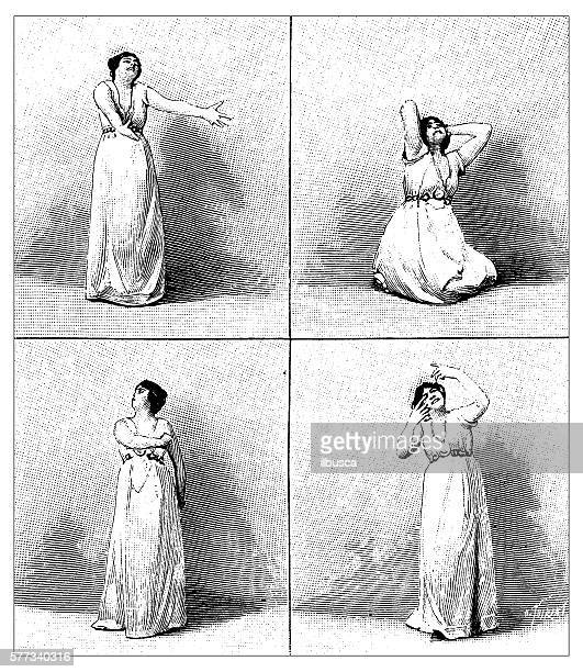 antique illustration of actress acting - actress stock illustrations