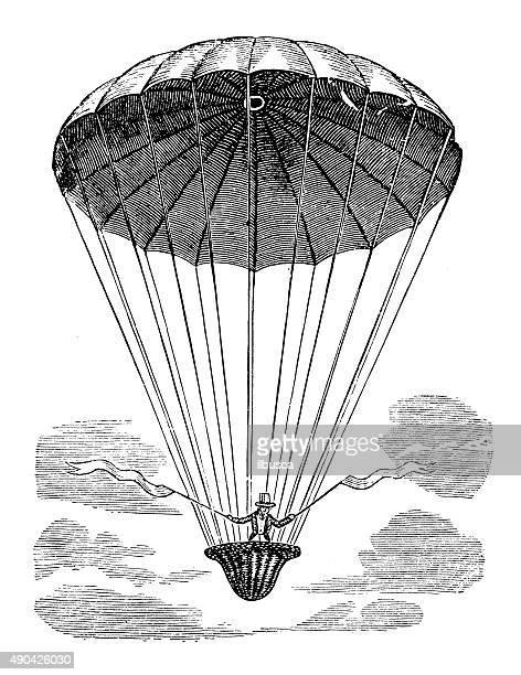 illustrations, cliparts, dessins animés et icônes de ancienne illustration de la montgolfière vol machine et prototypes - saut en parachute
