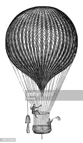 antique illustration of air balloon and flying machine prototypes - hot air balloon stock illustrations, clip art, cartoons, & icons
