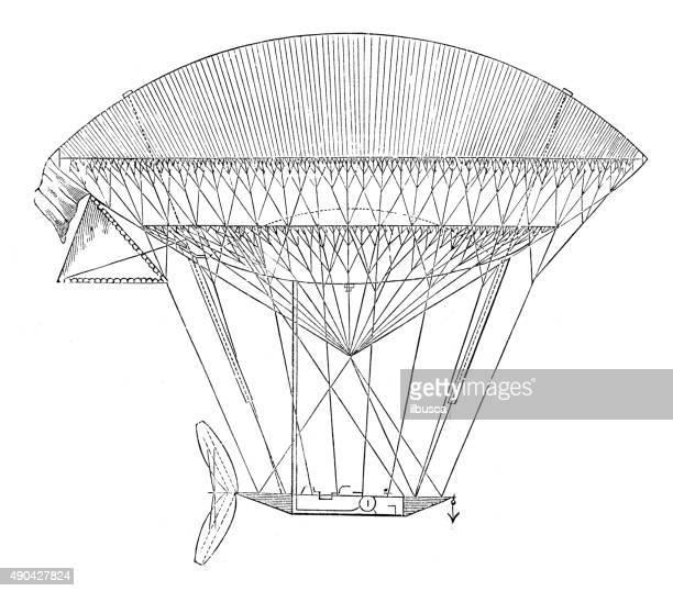 Antique ilustração de balão de ar e máquina voadora prototypes