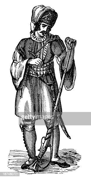 Antica illustrazione di popolazione albanese