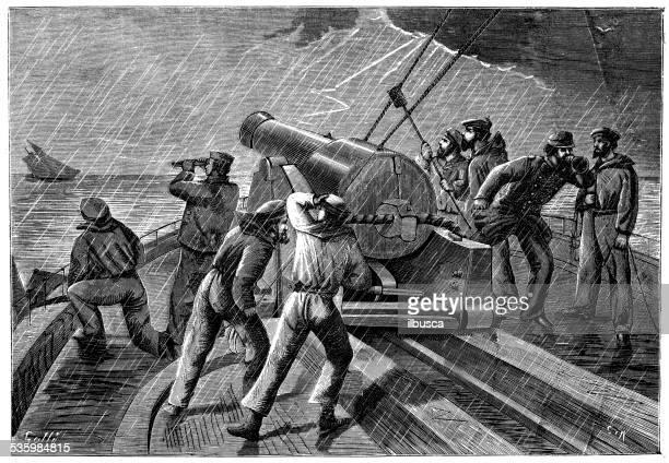ilustrações, clipart, desenhos animados e ícones de ilustração do estilo americano antigo navio de batalha de conflitos e inglês - american revolution